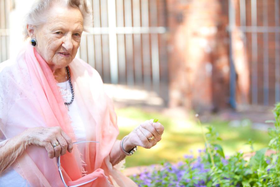 Im Therapiegarten können Kräuter entdeckt und erlebt werden.